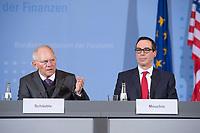 16 MAR 2017, BERLIN/GERMANY:<br /> Wolfgang Schaeuble (L), CDU, Bundesfinanzminister, und Steven Terner &quot;Steve&quot; Mnuchin (R), Fianzminister der Vereinigten Staaten von Amerika, USA, waehrend einer Pressekonferenz nach einem gemeinsamen Treffen, Bundesministerium der Finanzen<br /> IMAGE: 20170316-03-001<br /> KEYWORDS: Wolfgang Sch&auml;uble, Steve Mnuchin, Treasury secretary