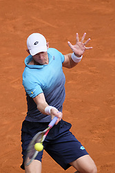 May 11, 2018 - Madrid, Spain - Kevin Anderson against Dusan Lajovic during day seven of the Mutua Madrid Open tennis tournament at the Caja Magica on May 11, 2018 in Madrid, Spain. (Credit Image: © Oscar Gonzalez/NurPhoto via ZUMA Press)