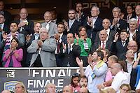 Paul GOZE / Pierre CAMOU / Francois HOLLANDE / Patrick KANNER / Anne HIDALGO / Nathalie IANNETTA  - 13.06.2015 - Clermont / Stade Francais - Finale Top 14<br />Photo : Nolwenn Le Gouic / Icon Sport