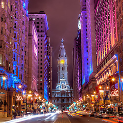 Terminal view of Philadelphia's City Hall looking up Broad Street in Center City.