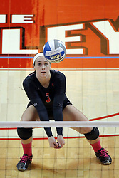 12 October 2013:  Emily Orrick during an NCAA womens volleyball match between the Missouri State Bears and the Illinois State Redbirds at Redbird Arena in Normal IL