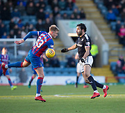 20th January 2018, Dens Park, Dundee, Scotland; Scottish Cup fourth round, Dundee versus Inverness Caledonian Thistle; Dundee's Sofien Moussa battles for the ball with Inverness Caledonian Thistle's Coll Donaldson