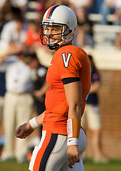 Virginia quarterback Peter Lalich (7) reacts after throwing his second interception of the game.  The Virginia Cavaliers defeated the #3 ranked (NCAA Division 1 Football Championship Subdivision) Richmond Spiders 16-0 in a NCAA football game held at Scott Stadium on the Grounds of the University of Virginia in Charlottesville, VA on September 6, 2008.