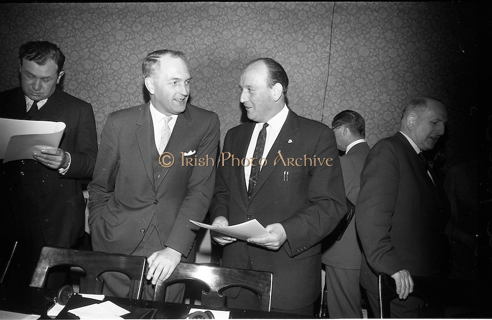 02/06/1964 <br /> 06/02/1964<br /> 02 June 1964<br /> Council of Europe working party meeting opens in Leinster House, Dublin. the two day meeting of the working party on relations with national parliaments of the Consultative Assembly of the Council of Europe was opened by Mr George Colley T.D., Chairman of the Irish Parliamentary Delegation to Strasburg. Picture shows Mr Colley (left) Chairman of the Irish Parliamentary Delegation to the Consultative Assembly of the Council of Europe chatting with Mr Brendan Crinion T.D., Irish Delegate, at an interval of the proceedings.