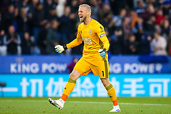 Kasper Schmeichel of Leicester City celebrates - Mandatory by-line: Robbie Stephenson/JMP - 29/09/2019 - FOOTBALL - King Power Stadium - Leicester, England - Leicester City v Newcastle United - Premier League