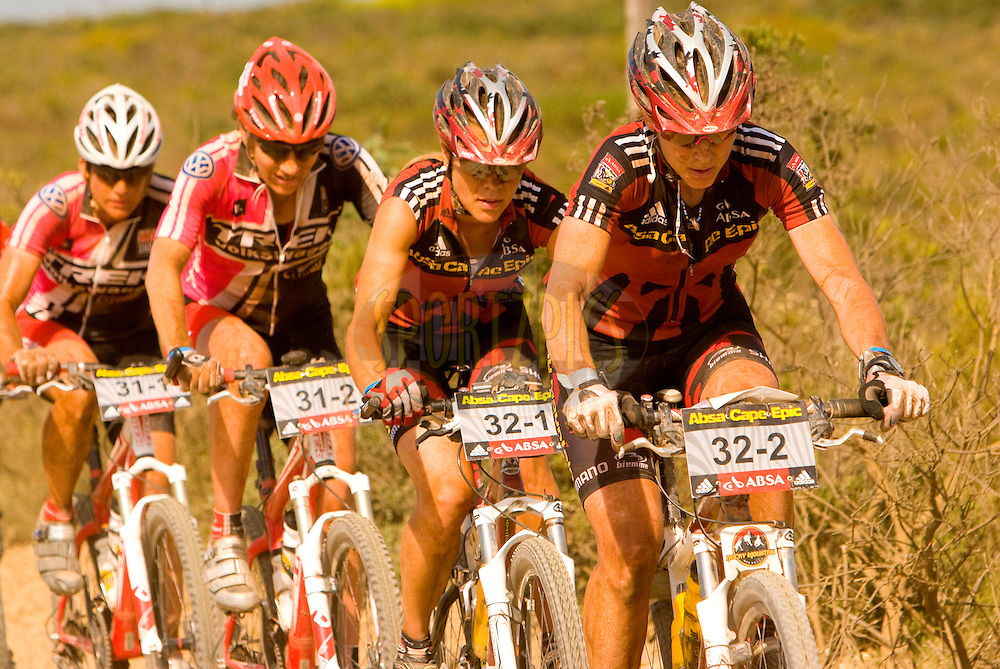 WESTERN CAPE, SOUTH AFRICA -  2 April 2008, Leading ladies Pia Sundstedt, Alison Sydor, Susan Haywood and Jennifer Smith during stage five of the 2008 Absa Cape Epic Mountain Bike stage race from Swellendam Primary School in Swellendam to Bredasdorp Municipal Sports Grounds in Bredasdorp in the Western Cape, South Africa...Photo by Karin Schermbrucker/SPORTZPICS