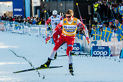 March 16, 2019 - Falun, SWEDEN - 190316 Johannes Høsflot Klæbo of Norway after the Men's cross-country skiing sprint final during the FIS Cross-Country World Cup on march 16, 2019 in Falun  (Credit Image: © Daniel Eriksson/Bildbyran via ZUMA Press)