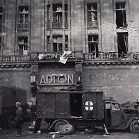 A photograph from the U.S. National Archives showing the Adlon Hotel in Berlin, Germany in 1945.