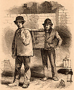London Nightmen.  These men who are carrying the contents of a cess pool in  a wooden tub, carried out their smelly, dirty job at night.  Their candle lanterns are on the ground.  The tub would be carried out into the street and its contents tipped into a horse-drawn tanker.  The tanker would then be taken to market gardens on the outskirts of the city where it's contents would be used as fertiliser.  Engraving from 'London Labour and the London Poor' by Henry Mayhew (London, 1861).