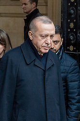 © Licensed to London News Pictures. 03/12/2019. London, UK. Recep Tayyip Erdoğan pictured as NATO Leaders' arrive at Downing Street. Photo credit: Peter Manning/LNP