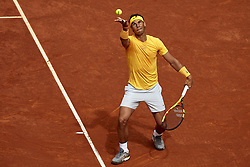 May 9, 2018 - Madrid, Madrid, Spain - Rafael Nadal of Spain serves during his match against Gael Monfils of France during day five of the Mutua Madrid Open tennis tournament at the Caja Magica on May 9, 2018 in Madrid, Spain  (Credit Image: © David Aliaga/NurPhoto via ZUMA Press)