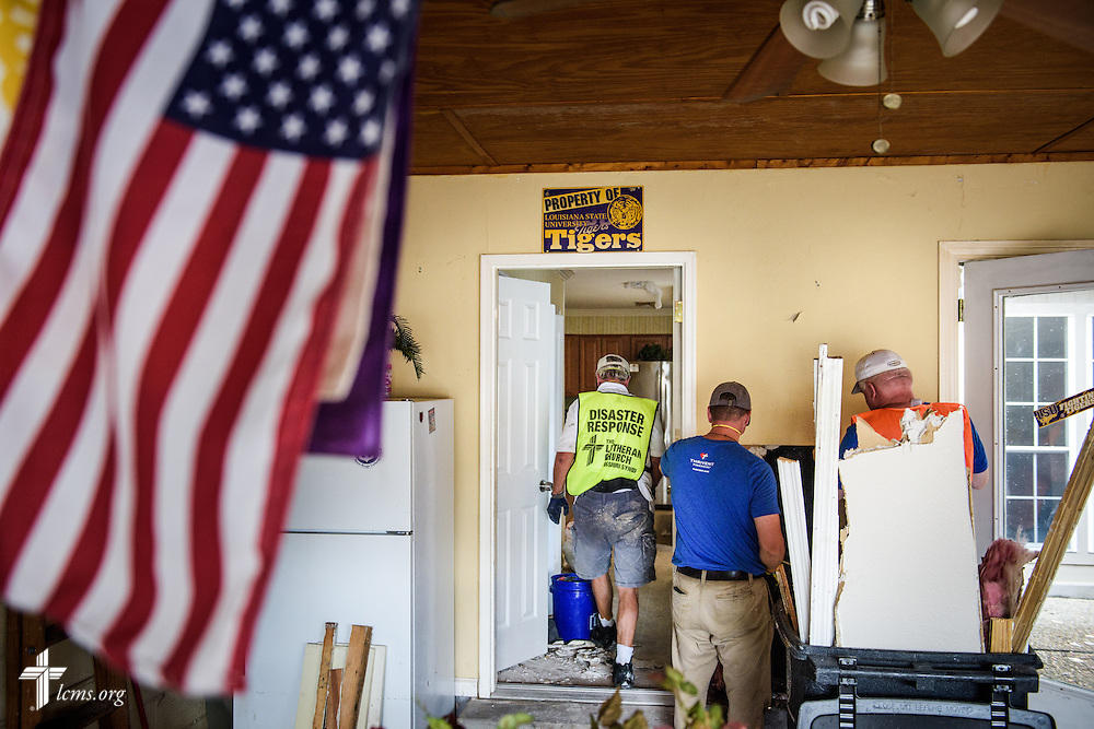 Volunteers muck-out the home of Trinity Lutheran Church parishioners Earl and Karen Willison on Tuesday, Sept. 13, 2016, at their flood-damaged home in Baton Rouge, La.  LCMS Communications/Erik M. Lunsford