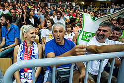Slovenian fans during friendly basketball match between National teams of Slovenia and Italy at day 3 of Adecco Cup 2015, on August 23 in Koper, Slovenia. Photo by Grega Valancic / Sportida