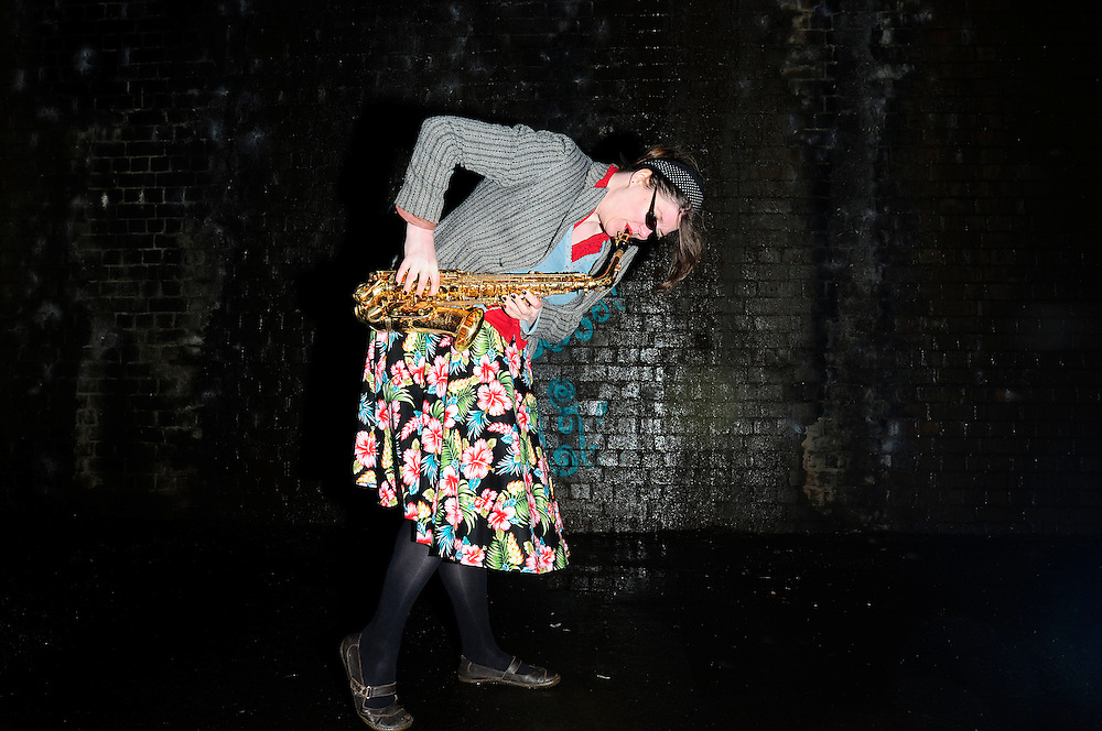 Cosmic Ray and the Constellations<br /> Photo shoot<br /> Manchester<br /> <br /> Victoria Conlan - Saxophone and backing vocals.