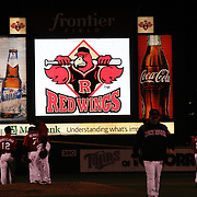 Advertising in the outfield during the Rochester Red Wings V The Scranton/Wilkes-Barre RailRiders, Minor League ball game at Frontier Field, Rochester, New York State. USA. 16th April 2013. Photo Tim Clayton