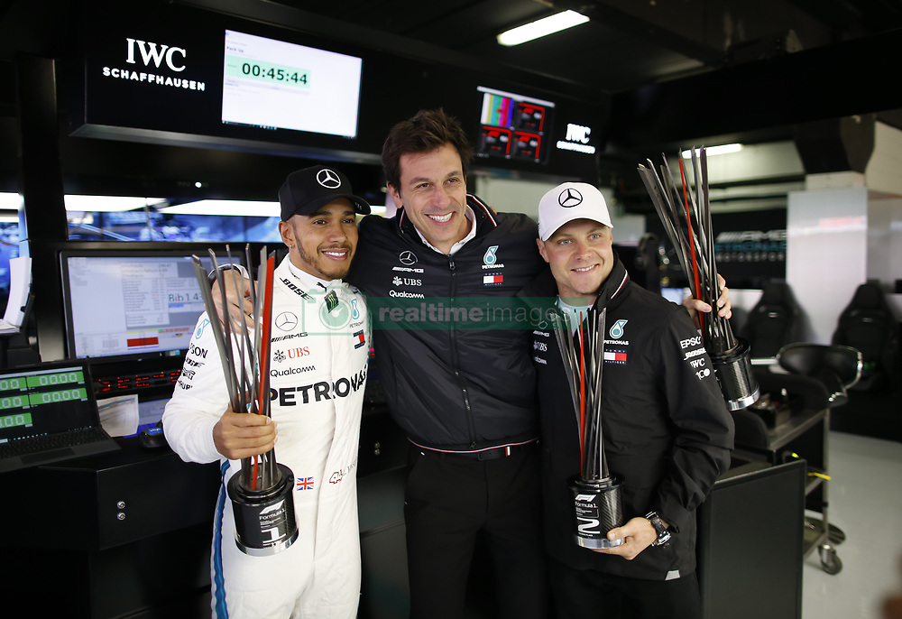 May 13, 2018 - Barcelona, Spain - Motorsports: FIA Formula One World Championship 2018, Grand Prix of Spain, ..#44 Lewis Hamilton (GBR, Mercedes AMG Petronas Motorsport), Toto Wolff (AUT, Mercedes AMG Petronas Motorsport), #77 Valtteri Bottas (FIN, Mercedes AMG Petronas Motorsport) (Credit Image: © Hoch Zwei via ZUMA Wire)
