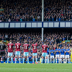 Everton and Burnley players join with the crowd for a minutes applause to commemorate the victims of the Hillsborough tragedy <br /> (c) John Baguley | SportPix.org.uk