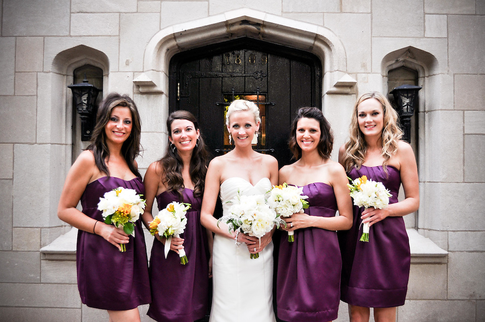 Kelly with her bridesmaids in Old Town, Chicago, IL