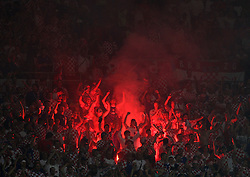 Croatian fans light a fire during the UEFA EURO 2008 Quarter-Final soccer match between Croatia and Turkey at Ernst-Happel Stadium, on June 20,2008, in Wien, Austria. Turkey won after penalty shots. (Photo by Vid Ponikvar / Sportal Images)