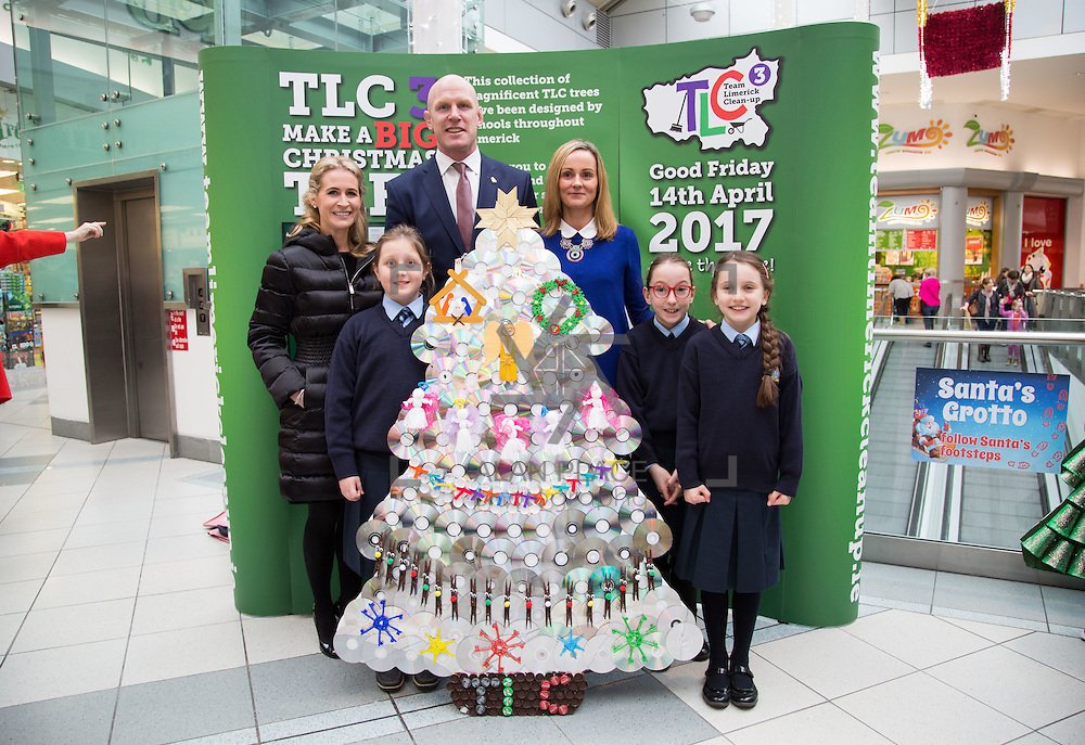12.12.2016           <br /> Winners of TLC3&rsquo;s &lsquo;Make A Big Christmas Tree&rsquo; competition were announced today in the Crescent Shopping Centre. Sue Ann Foley, Chair of the JP McManus Benevolent Fund, which sponsored the competition, was joined by teachers and students from the three winning categories.<br /> <br /> Pictured are CATEGORY 2 (Second- fourth class)<br /> First prize winners Our Lady&rsquo;s Abbey, Adare, 4th Class, Faye McGann, Bonnie Walsh, Aoibheann Walsh and Ms. Trisha Lavin  with Sue Ann Foley, Chair of the JP McManus Benevolent Fund, and Paul O'Connell. Picture: Alan Place