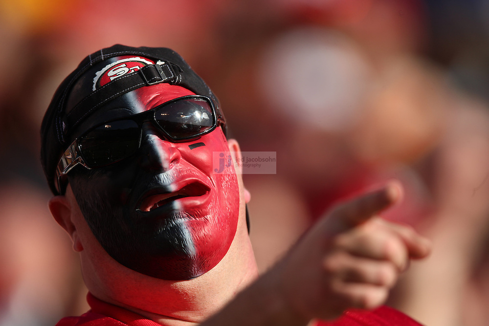 A fan looks on against the Miami Dolphins and the San Francisco 49ers during an NFL game at Candlestick Park on December 9, 2012 in San Francisco, CA.  (Photo by Jed Jacobsohn)