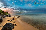 Sunset clouds over Anini Beach near Kalihiwai in Kauai, Hawaii, USA