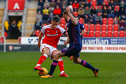 Matthew Clarke of Portsmouth attempts to tackle Jerry Yates of Rotherham United - Mandatory by-line: Ryan Crockett/JMP - 20/01/2018 - FOOTBALL - Aesseal New York Stadium - Rotherham, England - Rotherham United v Portsmouth - Sky Bet League One