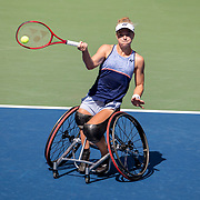 2019 US Open Tennis Tournament- Day Fourteen.   Diede De Groot of The Netherlands in action against Yui Kamiji of Japan in the Wheelchair Women's Singles Final on Louis Armstrong Stadium during the 2019 US Open Tennis Tournament at the USTA Billie Jean King National Tennis Center on September 8th, 2019 in Flushing, Queens, New York City.  (Photo by Tim Clayton/Corbis via Getty Images)