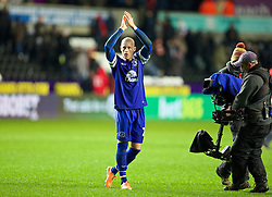 SWANSEA, WALES - Sunday, December 22, 2013: Everton's goal-scoring match-winner Ross Barkley celebrates his side's 2-1 victory over Swansea City during the Premiership match at the Liberty Stadium. (Pic by David Rawcliffe/Propaganda)