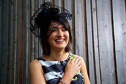 LIVERPOOL, ENGLAND - Thursday, April 6, 2017: Sophie Lloyd, 23 from Shropshire, wearing a dress and hat from Coast, during The Opening Day on Day One of the Aintree Grand National Festival 2017 at Aintree Racecourse. (Pic by David Rawcliffe/Propaganda)