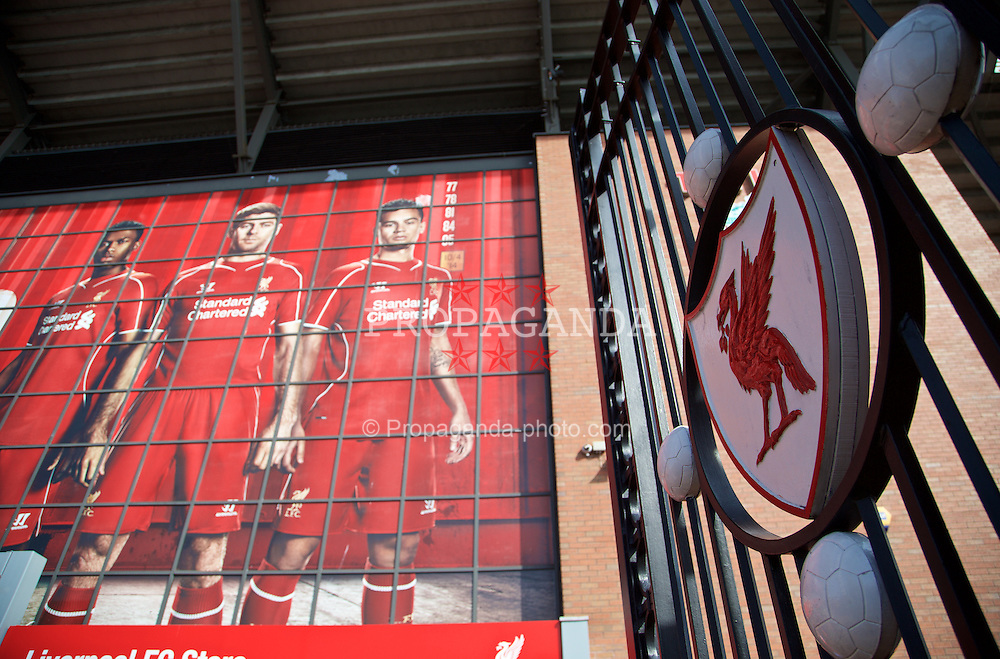 LIVERPOOL, ENGLAND - Sunday, March 22, 2015: Posters of Liverpool's Daniel Sturridge, captain Steven Gerrard and Philippe Coutinho Correia in front of the Paisley Gates pictured before the Premier League match against Manchester United at Anfield. (Pic by David Rawcliffe/Propaganda)