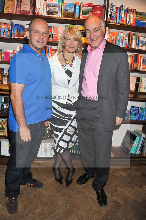 Left to right, STEVE HILTON, SANDRA HOWARD and MICHAEL HOWARD at a party to celebrate the publication of Sandra Howard's new book - Ex-Wives held at Daunt Books, 83 Marylebone High Street, London W1 on 30th April 2012.
