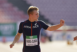 July 10, 2018 - Tampere, Suomi Finland - 180710 Friidrott, Junior-VM, Dag 1: Steven Fauvel-Clinch FRA competes in men's Decathlon 100 meters during the IAAF World U20 Championships day 1 at the Ratina stadion 10. July 2018 in Tampere, Finland. (Newspix24/Kalle Parkkinen) (Credit Image: © Kalle Parkkinen/Bildbyran via ZUMA Press)