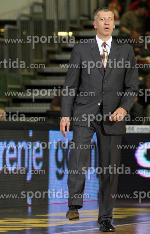 Head coach of Zadar Aleksandar Petrovic during first semi-final match of Basketball NLB League at Final four tournament between KK Zadar, Croatia and Hemofarm Stada, Vrsac, Serbia, on April 25, 2008, in Arena Tivoli in Ljubljana. Match was won by Hemofarm Stada, who defeated KK Zadar with 81:72. (Photo by Vid Ponikvar / Sportal Images)