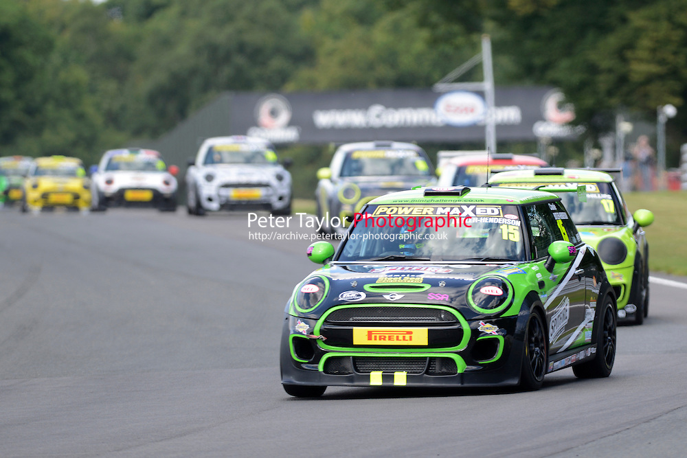 #15 Charlie Butler-Henderson Mini F56 during Power Maxed Mini Challenge - F56/JCW - Race 1 as part of the Mini Festival  at Oulton Park, Little Budworth, Cheshire, United Kingdom. August 08 2015. World Copyright Peter Taylor. Copy of publication required for printed pictures.  Every used picture is fee-liable. http://archive.petertaylor-photographic.co.uk