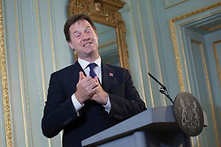 © licensed to London News Pictures. London, UK. 06/08/2012. Deputy Prime Minister Nick Clegg speaking at a press conference on August 6, 2012 where he announced that plans to reform the House of Lords are being abandoned. Photo credit: Tolga Akmen/LNP