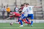 Nikolaj S. Hansen (FC Helsingør) får frispark i duel med Andreas Smed og Sebastian Carlsen (HIK) under kampen i 2. Division mellem HIK og FC Helsingør den 30. august 2019 i Gentofte Sportspark (Foto: Claus Birch).