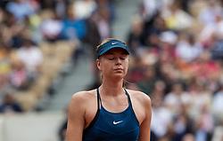 May 29, 2018 - Paris, France - Maria Sharapova of Russia serves against Richel Hogenkamp of Netherland during the first round at Roland Garros Grand Slam Tournament - Day 3 on May 29, 2018 in Paris, France. (Credit Image: © Robert Szaniszlo/NurPhoto via ZUMA Press)