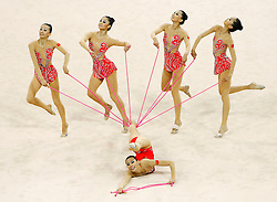 China's gymnastic team performs during the group all-around finals for rhythmic gymnastics during the Olympic games in Beijing, China, 24 August 2008. Russia won the gold for the event while China and Belarus take the silver and bronze respectively.