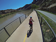 SHOT 5/9/16 11:29:04 AM - GoPro footage and stills of the Mag 7 trail, Fisher Towers and the bike trail along Highway 128 in Moab. Moab is a city in Grand County, in eastern Utah, in the western United States. Moab attracts a large number of tourists every year, mostly visitors to the nearby Arches and Canyonlands National Parks. The town is a popular base for mountain bikers and motorized offload enthusiasts who ride the extensive network of trails in the area. (Photo by Marc Piscotty / © 2016)
