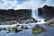 Öxarárfoss is a small waterfall in Þingvellir National Park, Iceland | Oxararfoss er en liten foss i Tingvellir nasjonalpark på Island.