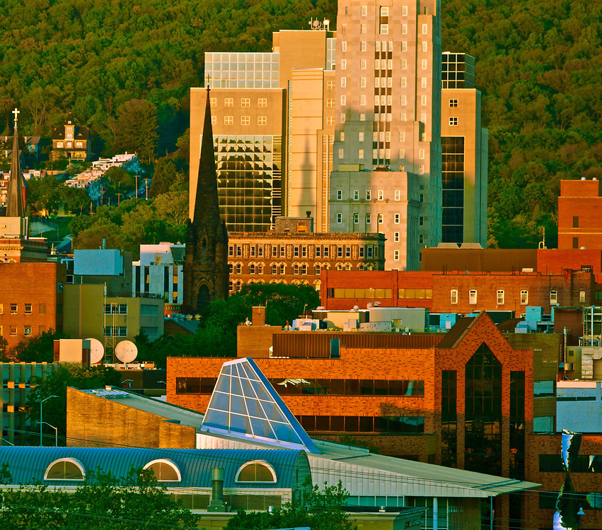 Skyline, Reading, PA including Christ Episcopal Church spire and Miller Center for the Arts, RAAC