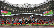 Carolina Panthers fullback Alex Armah (40) rushes during the first quarter of the NFL International Series game against the Tampa Bay Buccaneers at Tottenham Hotspur Stadium, Sunday, Oct. 13, 2019, in London.  The Panthers defeated the Buccaneers 37-26. (Gareth Williams/Image of Sport)