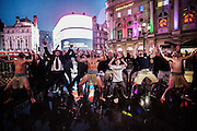 Maori's perform the Haka at Piccadilly Circus on Monday November 17. 2014.<br /> <br /> Haka For Business launching the UK's global entrepreneurship week activities at Piccadilly Circus <br /> <br /> Photos by Ki Price