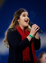 CARDIFF, WALES - Friday, November 24, 2017: Anthem singer Beth Millard before the FIFA Women's World Cup 2019 Qualifying Round Group 1 match between Wales and Kazakhstan at the Cardiff City Stadium. (Pic by David Rawcliffe/Propaganda)