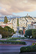 A view of the crooked Lombard Street in San Francisco, California.