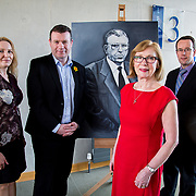 24.03.2017            <br /> Limerick Civic Trust, Marjorie Daly commissioned Jim Kemmy Portrait unveiling by Jan O'Sullivan TD at the Kemmy Business School, University of Limerick. <br /> <br /> Pictured at the event were, Cllr. Elena Secas, Alan Kelly, TD, Jan O'Sullivan TD and Cllr. Joe Leddin. Picture: Alan Place