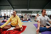 Milano, festival dello yoga al superstudio....Milan, yoga festival, Hata Yoga lesson with teacher Thirak Ruta