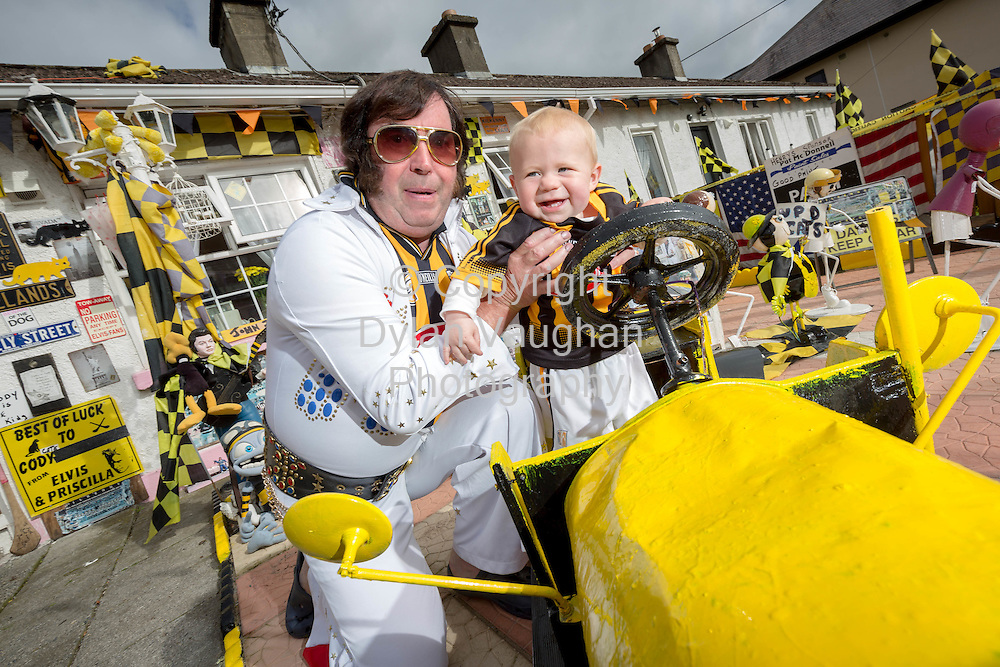03-9-15<br /> <br /> Kilkenny Elvis Myles Kavanagh and his grandson Preslie Kavanagh aged 8 months pictured in Kilkenny ahead of this weekends All Ireland Senior Hurling Final between Kilkenny and Galway.<br /> Picture Dylan Vaughan.