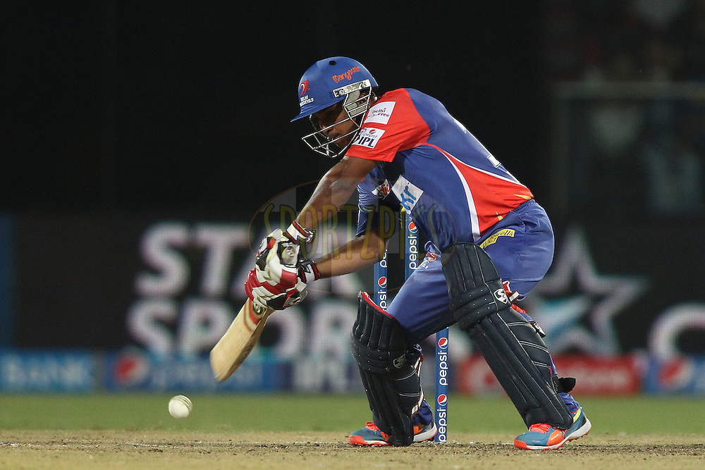 Kedar Jadhav of the Delhi Daredevils square drives a delivery during match 26 of the Pepsi Indian Premier League Season 2014 between the Delhi Daredevils and the Chennai Super Kings held at the Feroze Shah Kotla cricket stadium, Delhi, India on the 5th May  2014<br /> <br /> Photo by Shaun Roy / IPL / SPORTZPICS<br /> <br /> <br /> <br /> Image use subject to terms and conditions which can be found here:  http://sportzpics.photoshelter.com/gallery/Pepsi-IPL-Image-terms-and-conditions/G00004VW1IVJ.gB0/C0000TScjhBM6ikg